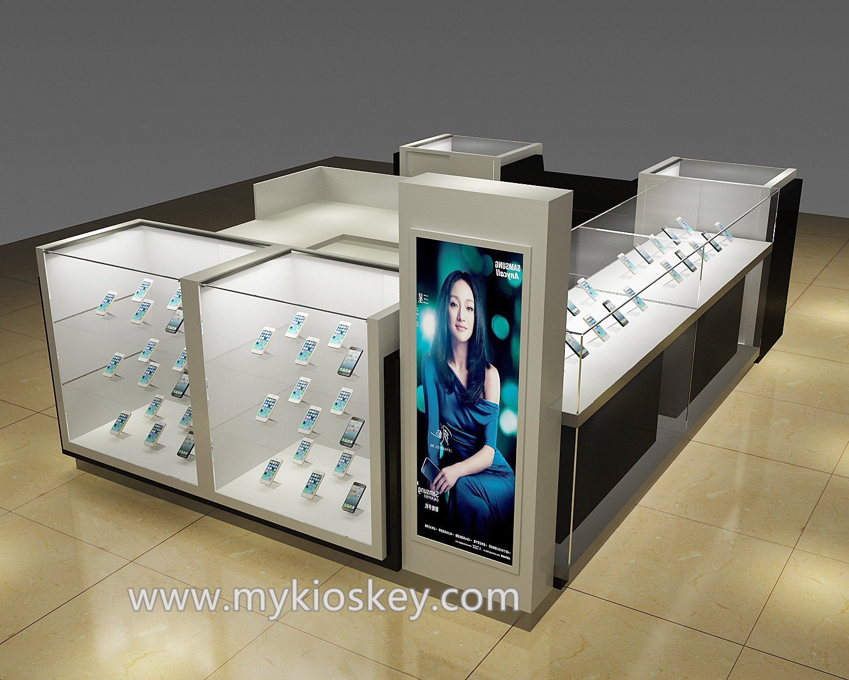 Modern glass mobile accessories kiosk in shopping mall for Mobili kios