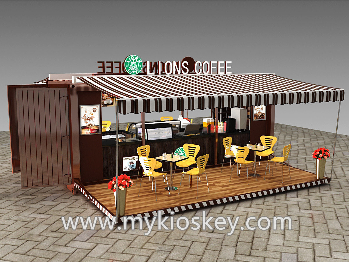 Fireproof Flooring Material >> Container coffee shop with interior design for sale | Mall ...