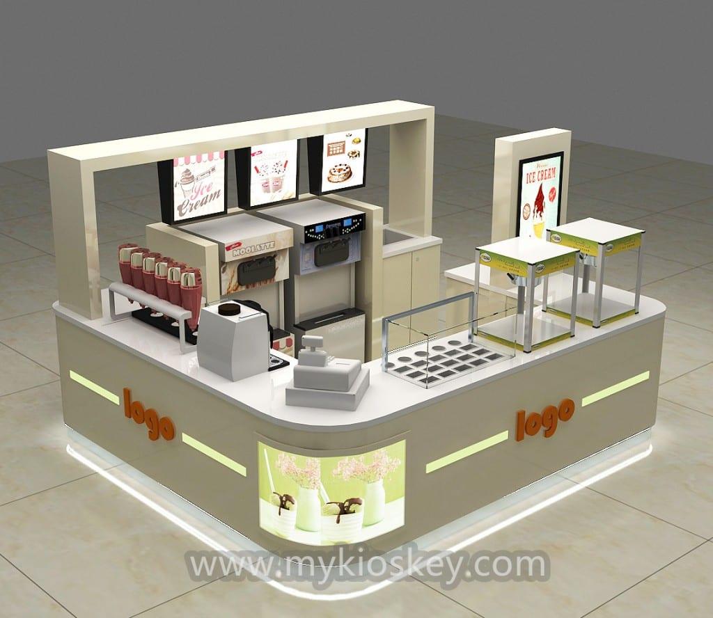 Beige Customized Frozen Yogurt Kiosk Design For Sale