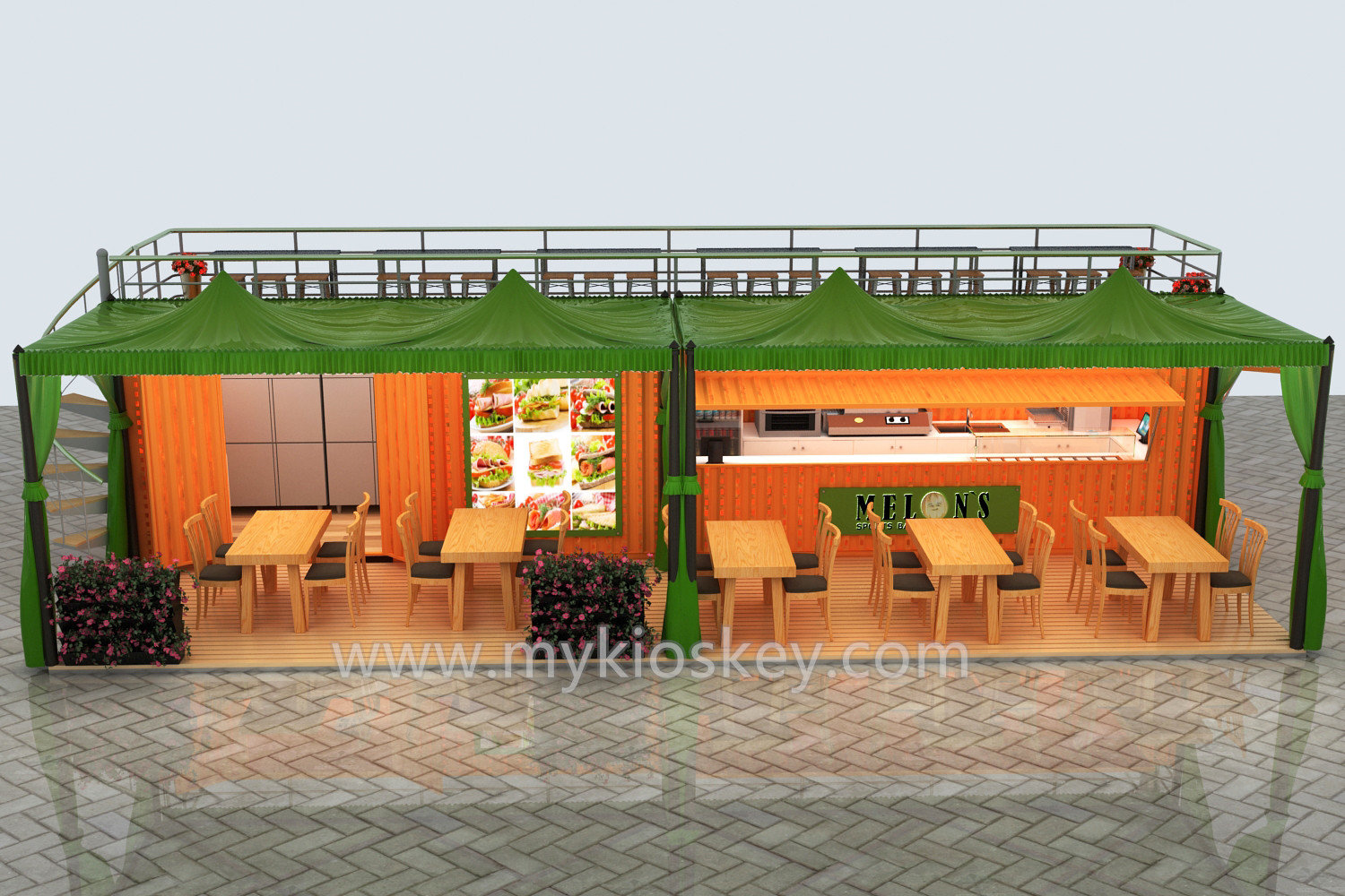 40 Feet Container Kiosk With Fast Food Shop For Sale