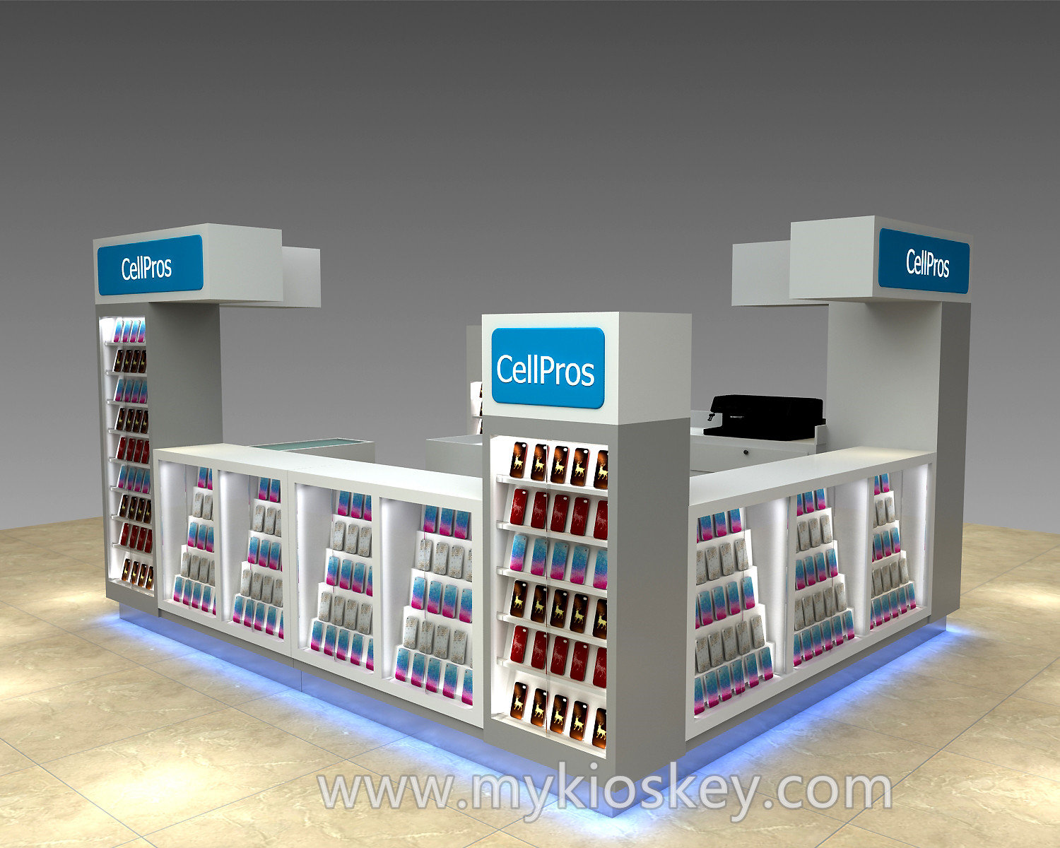 High Grade Shopping Mall Mobile Phone Kiosk And Cell Phone Display