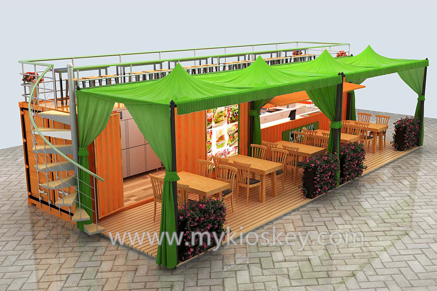 Special 20ft food container kiosk design for sale