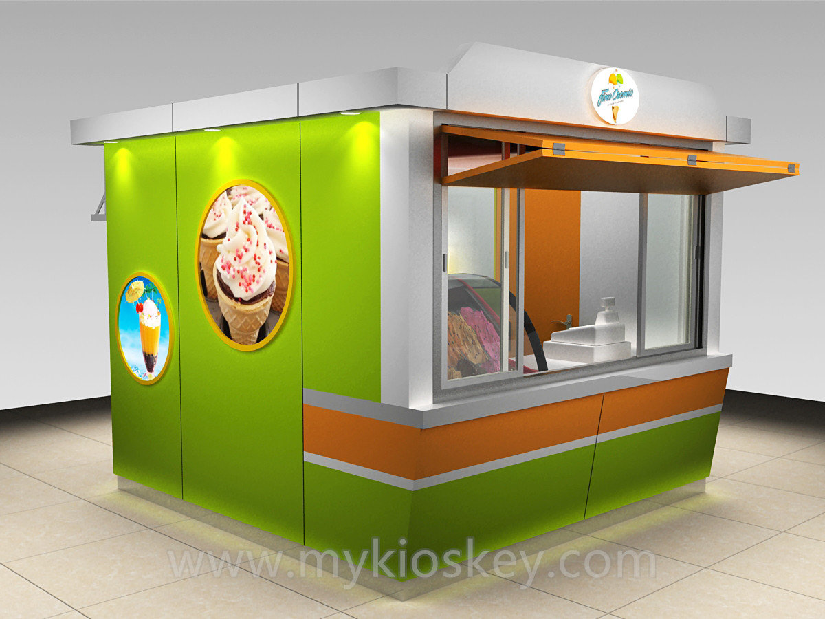 Outdoor security gelato ice cream kiosk designs for sale for Exterior kiosk design