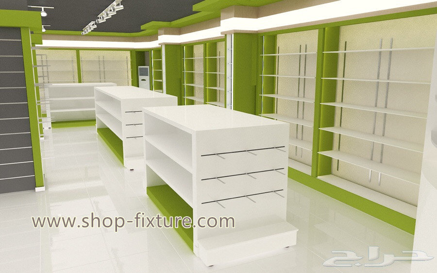 Bespoke High Quality Wooden Pharmcy Store Furniture With Fresh Green Color