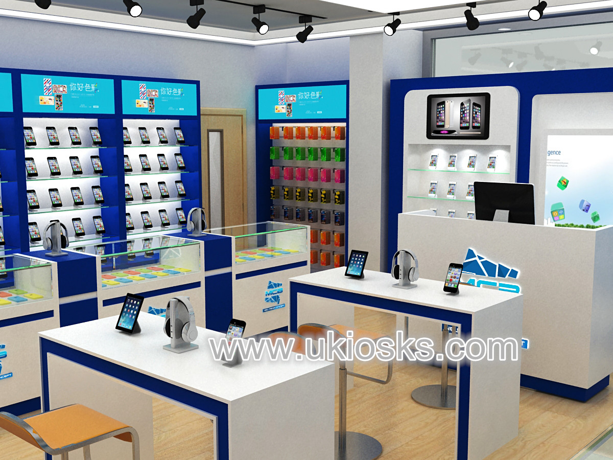 Modern 3d mobile phone shop display counter interior design for Mobel design