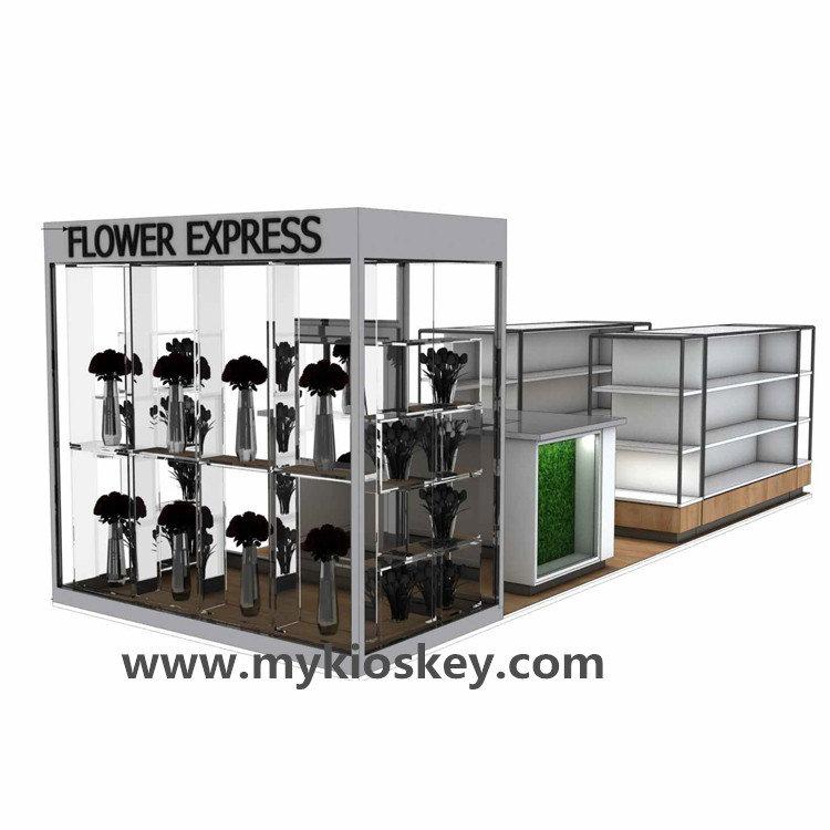 Wooden furniture showcase shelf for flower kiosk in shopping mall