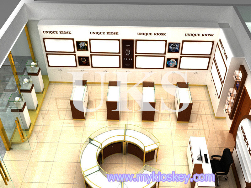 Retail jewelry shop fittings and optical store display showcase