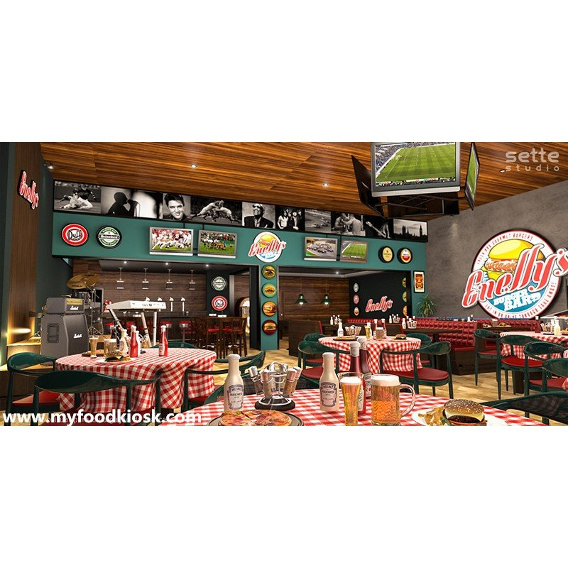 Customized sports game fast food restaurant bar counter design