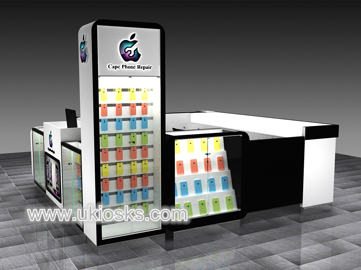 Most popular mobile phone accessories kiosk with repair for Mobili kios