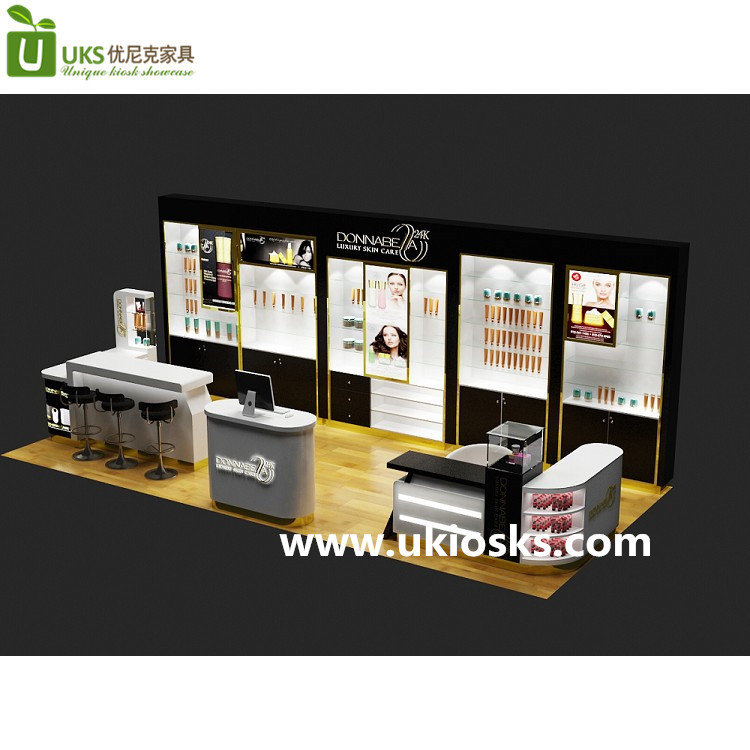Cosmetic Exhibition Stand Design : Lluxury wood mall cosmetic display stand design for makeup
