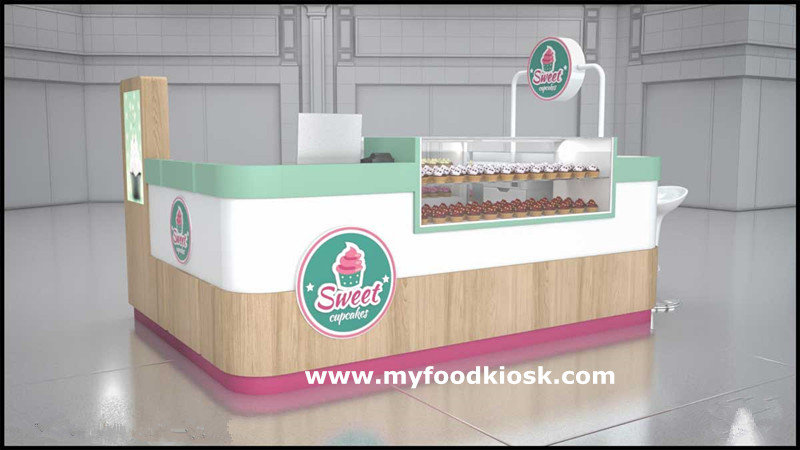 Sweet cup cake display with bakery kiosk for sale