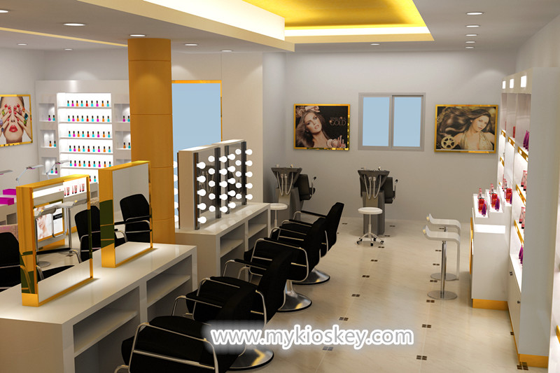 Black Color Hair Salon Booth Design Used In Shopping Mall