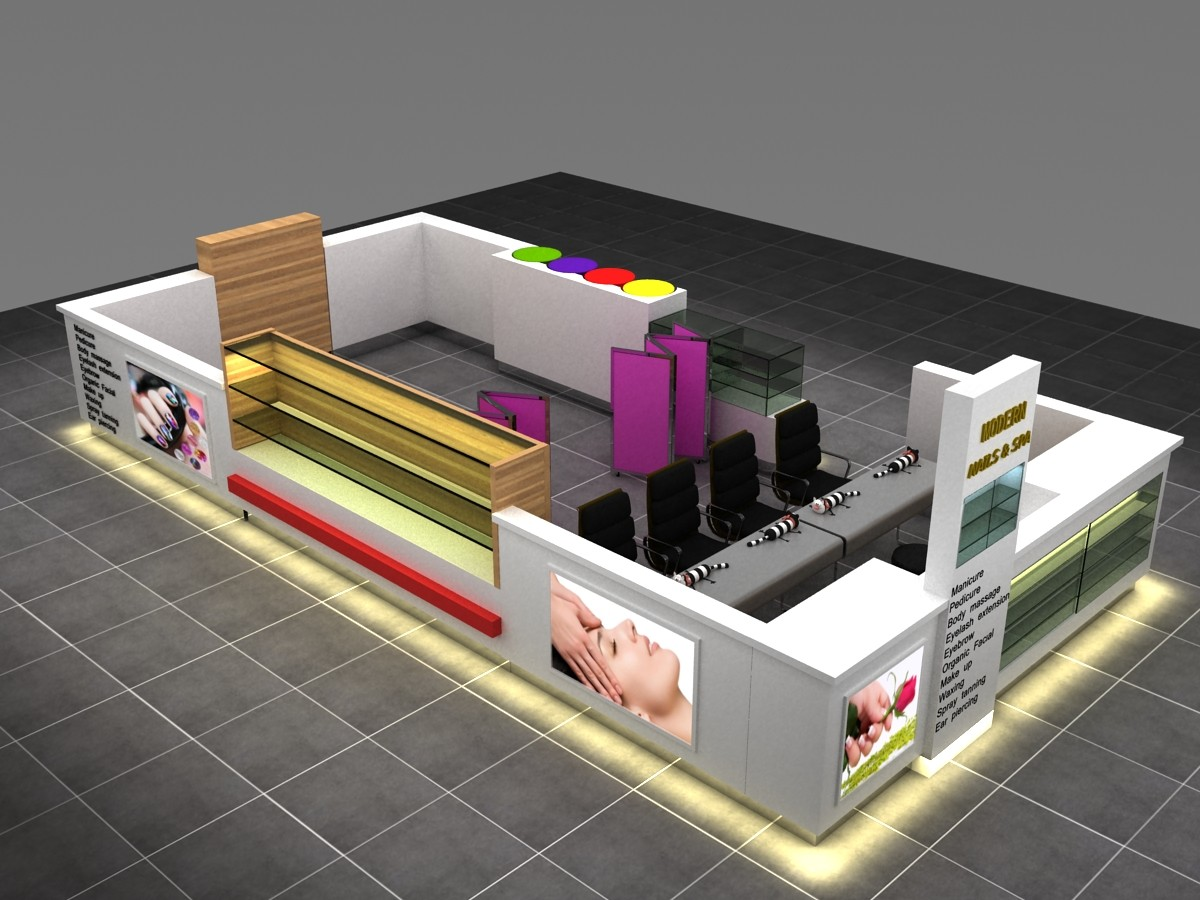 Attractive Modern Mall Used Nail Kiosk Design For Sale