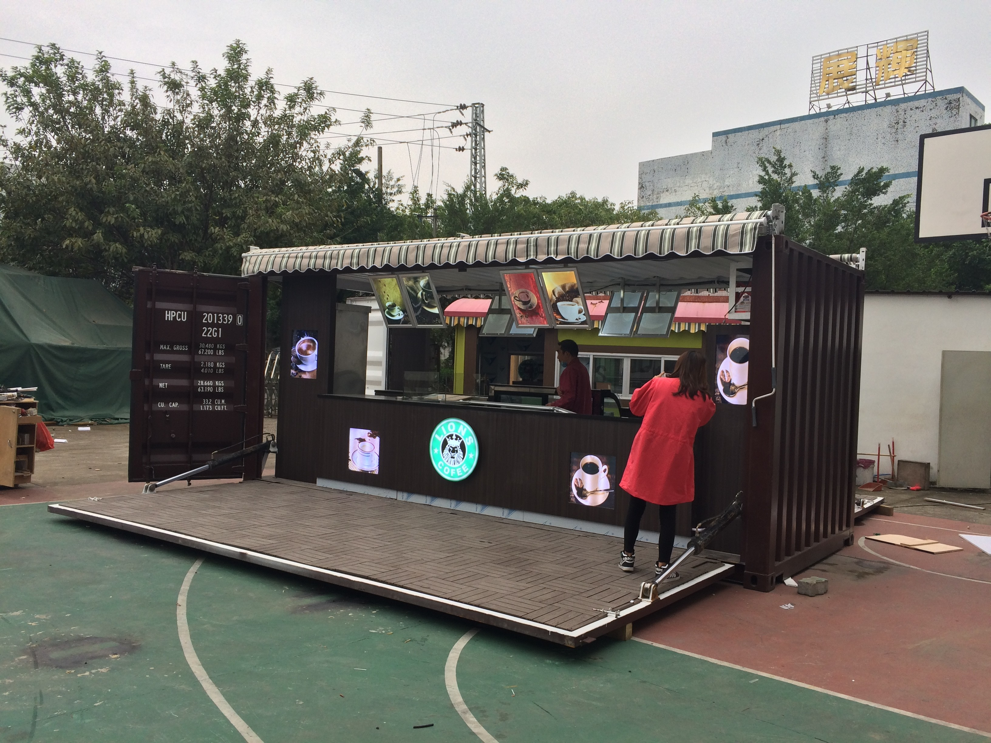 20ft Shipping Container >> Outdoor 20ft Shipping container kiosk into cafe | Mall ...