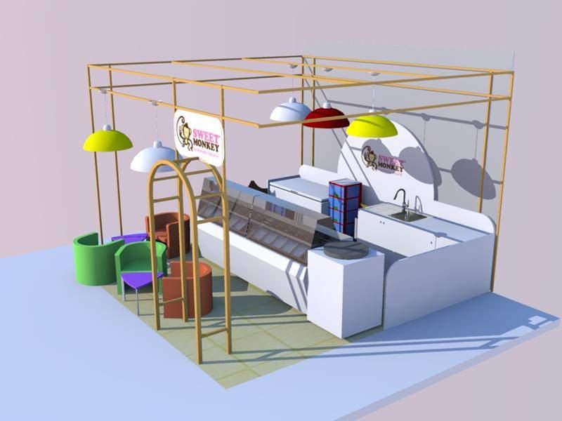 Ice Cream Kiosk For Ice Cream Display In Mall Mall
