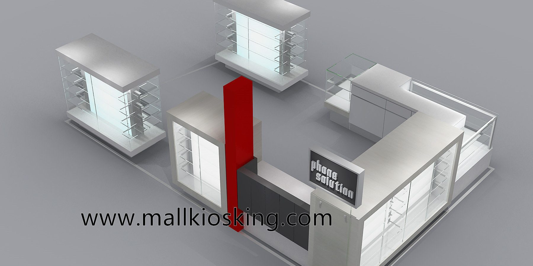 Mobile phone kiosk design with tempered glass counter | Mall
