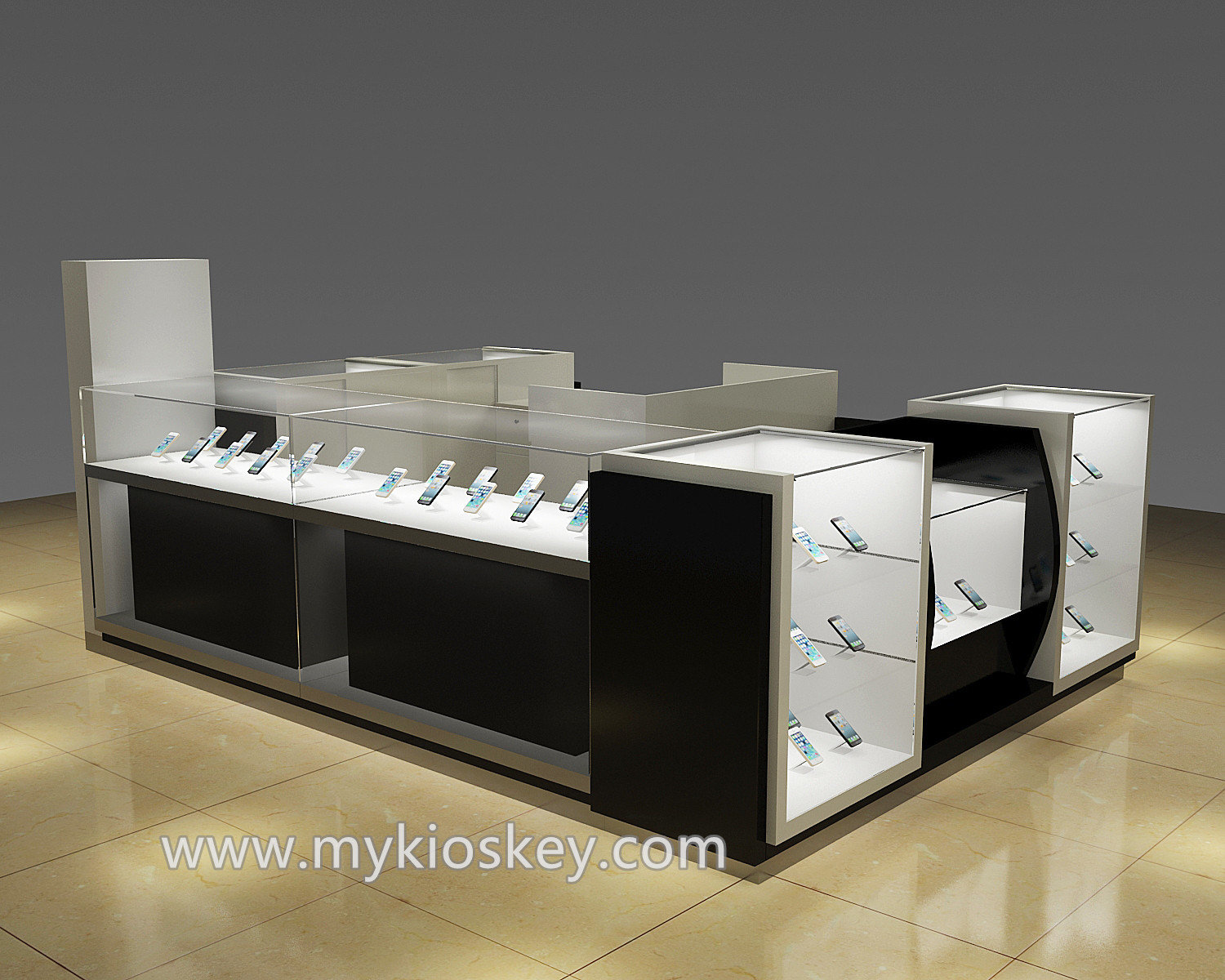 Modern glass mobile accessories kiosk in shopping mall for Mobili kios