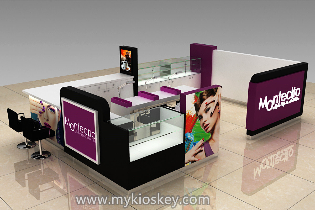 Nail Bar Kiosk For Nail Shop Furniture With Coffee Counter