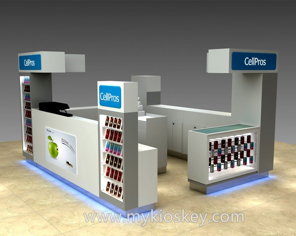 100  high quality mall mdf cell phone kiosk for sale