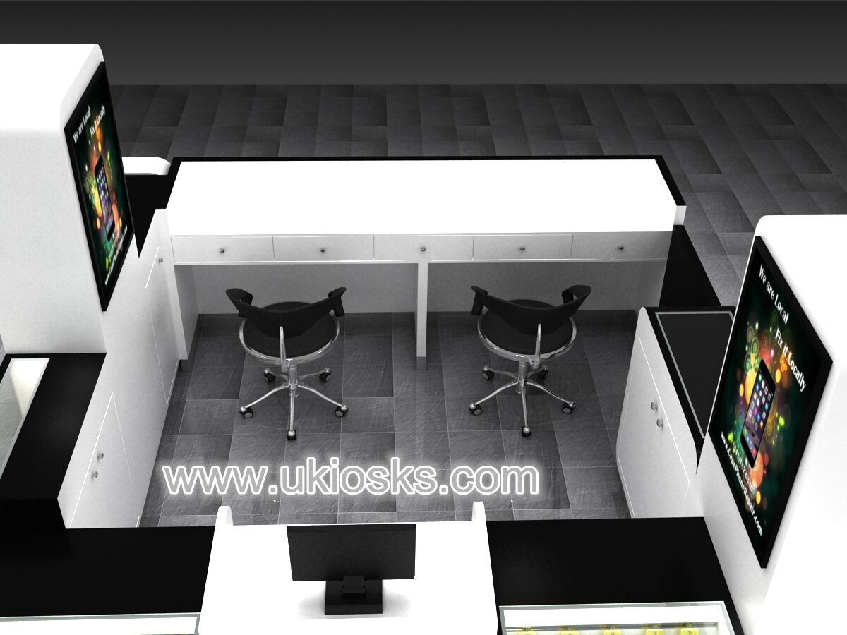 Modern Mobile Shop Counter Design Cell Phone Display Showcase Cell Phone Repair Kiosk For Sale