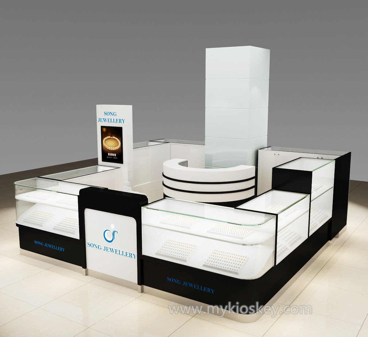 Jewellery Exhibition Stand : Retail glass jewelry display stand watch showcase for mall