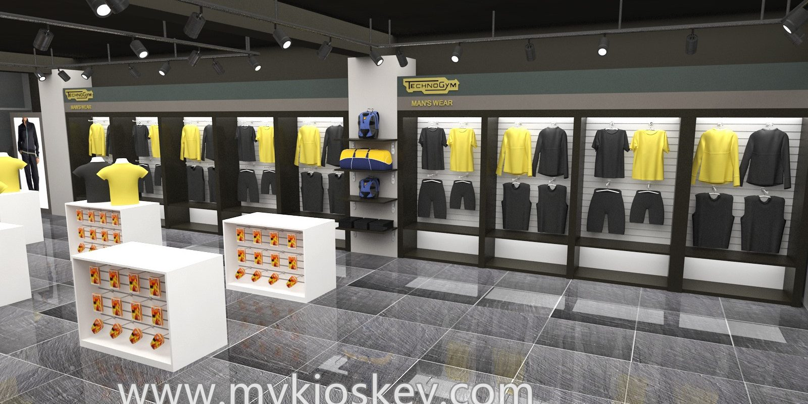 Men's sportswear store with clothes shop furniture for sale