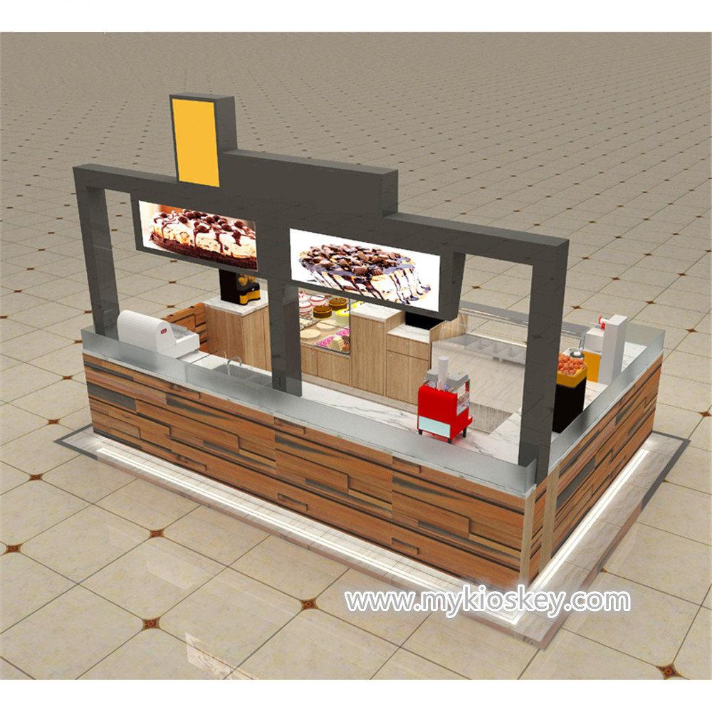Mall wood modern food kiosk design for frozen yogurt kiosk