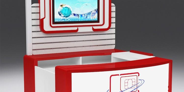Factory Price Mall Sim Card Display Booth With Slat Wall Display Panel