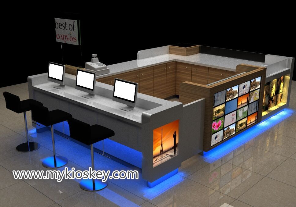 Wooden photo album display showcase mall photo kiosk design for sale