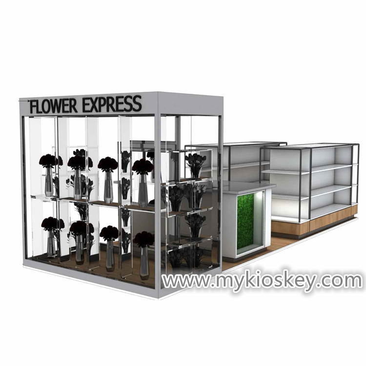 Wooden flower display showcase mall flower display stand for sale