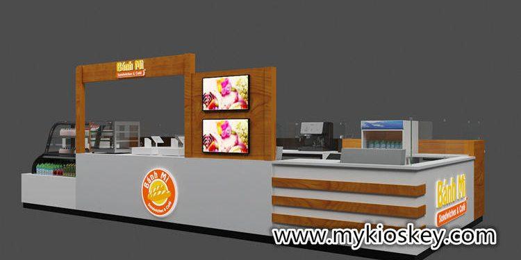 Wooden sandwich kiosk fast food kiosk design with equipment | Mall