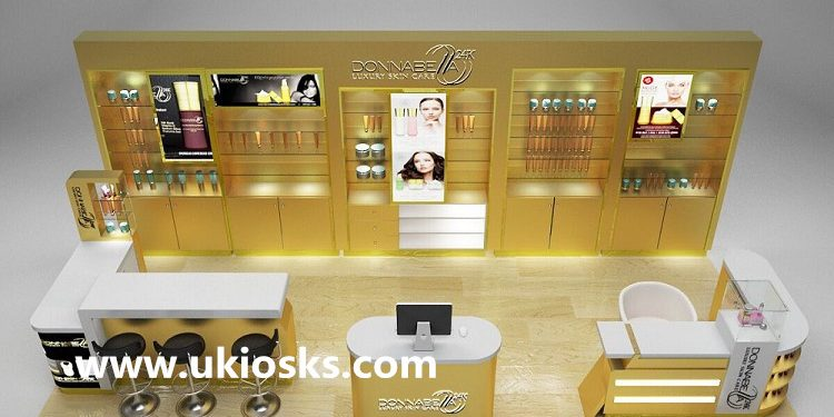Luxury wood mall cosmetic kiosk design for makeup