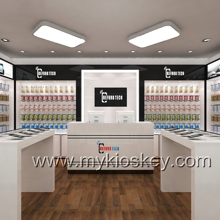 Simple White Mobile Phone Shop Counter Interior Design