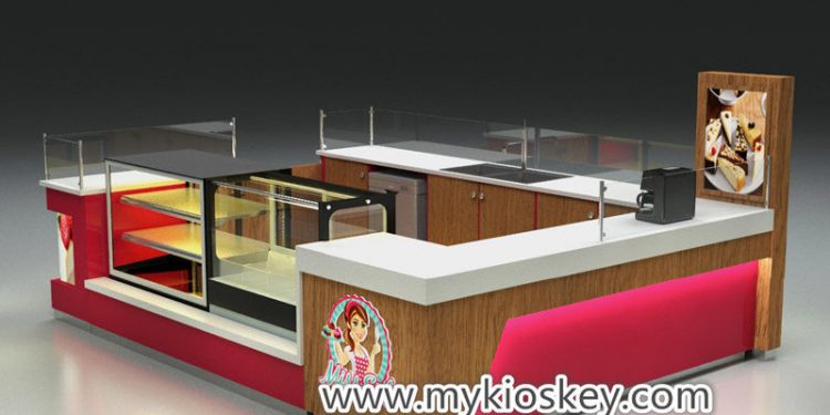 Wooden waffle chocolate kiosk mall fast food bar counter design for