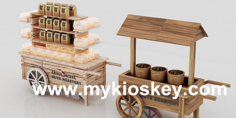 Wooden Archaic Mobile Food Cart Nut Sweet Candy Cart For Sale