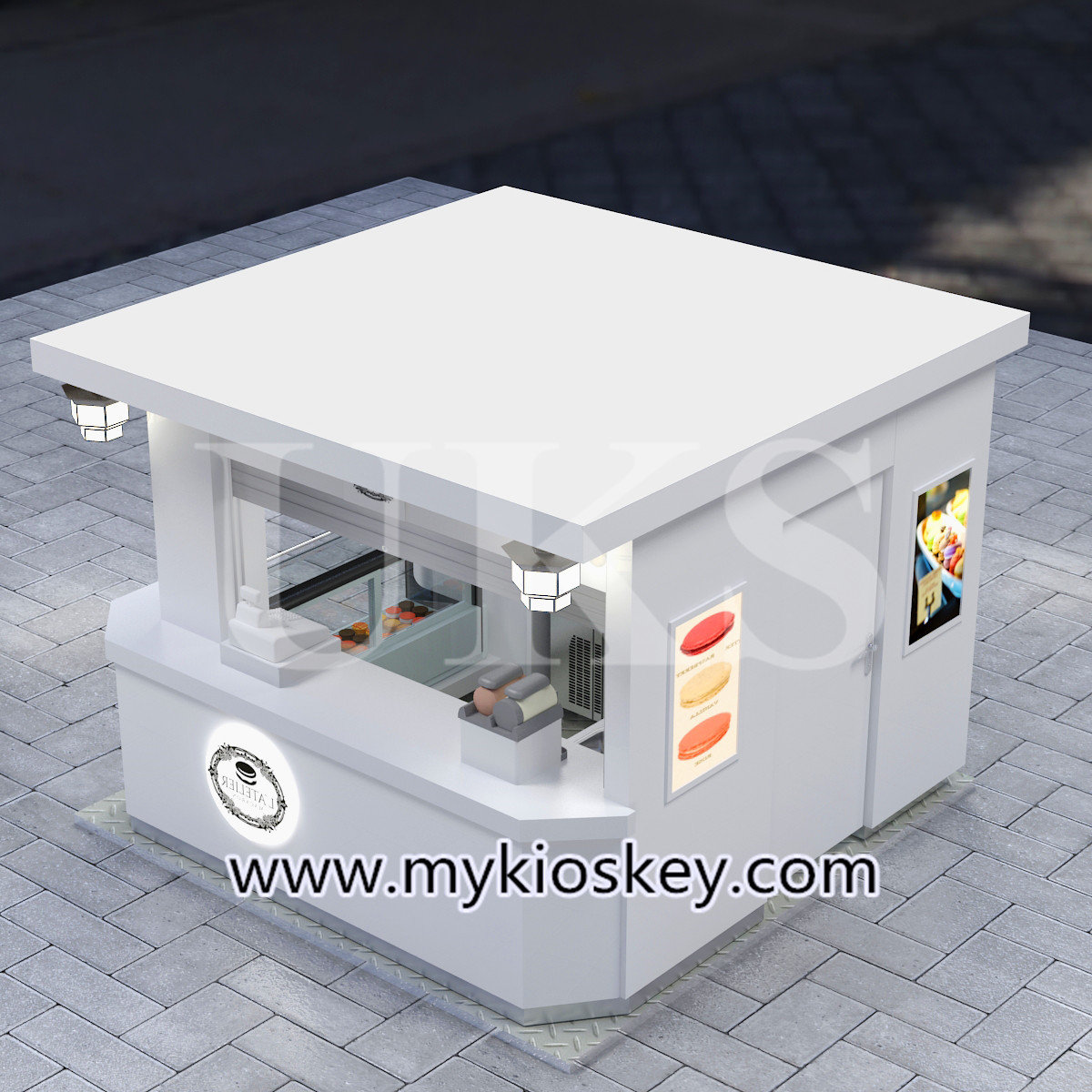macaron outdoor food kiosk is a small street retail shop