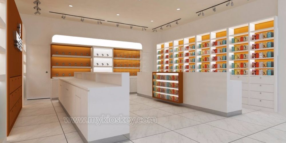 a5bf1867e3b83b Wooden customized mobile phone shop interior design