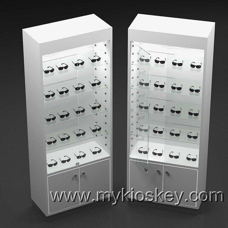 Batch White Sunglasses Display Cabinet , Sunglass Eyewear Display Showcase