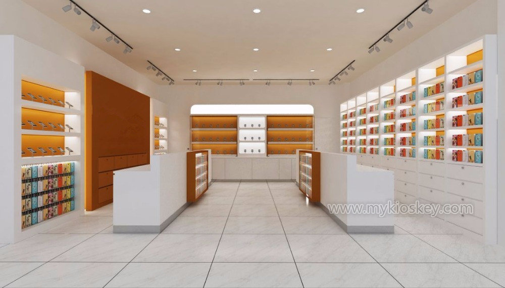 Modern retail mobile phone shop counter design for sale