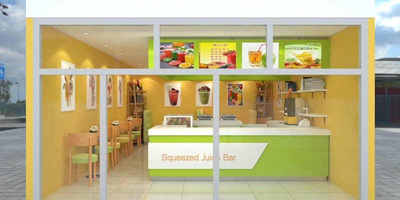 African Popular 5m By 8m Squeezed Juice Shop Smoothies Store Design