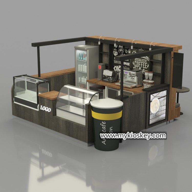 Custom 4 3m Rustic Grey Sartre Coffee Kiosk Design For Mall