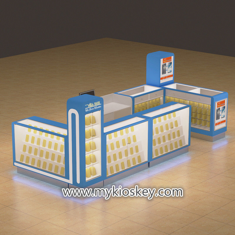 blue cell phone accessories kiosk