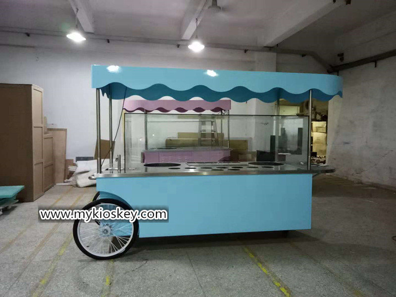 blue candy food cart